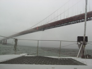 Foggy approach to the Golden Gate Bridge