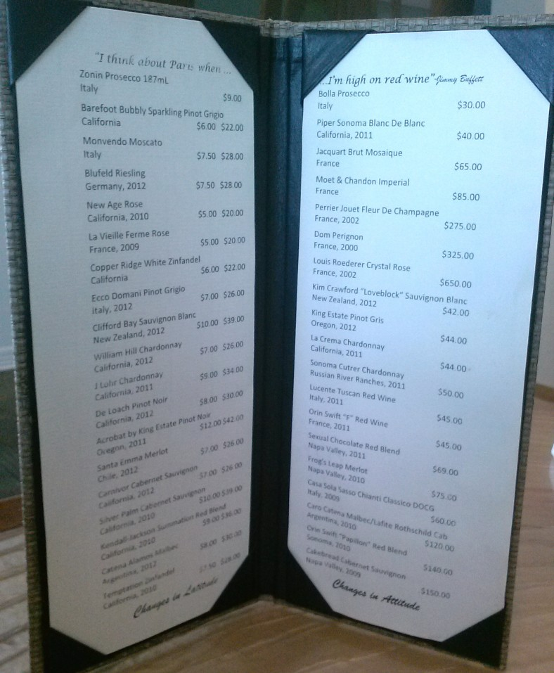 Wine List at Frank & Lola Love Pensacola Cafe